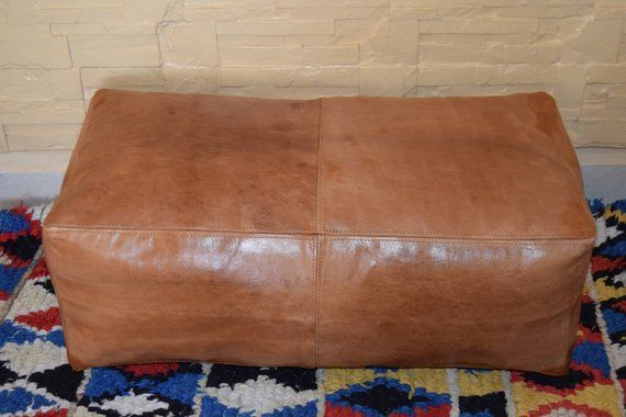 Super Moroccan Leather Ottoman Square Pouf Light Tan Handmade Caraccident5 Cool Chair Designs And Ideas Caraccident5Info