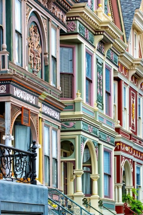 Colorful homes in this San Francisco community look like they're straight out of a children's coloring book.