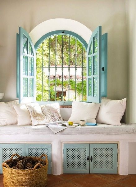 Country Cottage Décor Window Seat Shutters