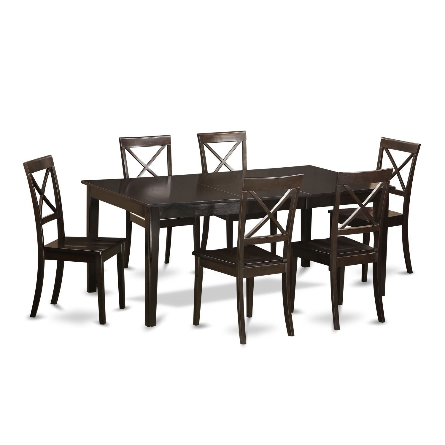 HEBO7-CAP Cappucino Wood Dining Table and 6 Dinette Chairs (Wood Seat), Black, Size 7-Piece Sets