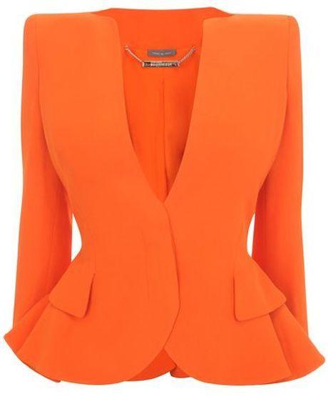 f21dae7a2d0 ALEXANDER MCQUEEN - Orange Crepe Wing Peplum Jacket - Lyst