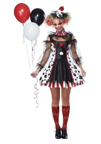 Ladies Red//Black Horror Clown Halloween Fancy Dress Costume