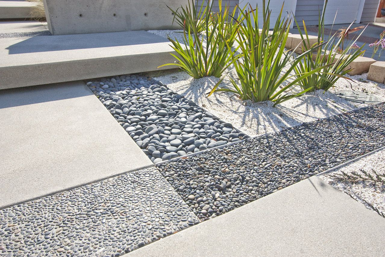 Rectangular mix of materials thin metal lining around - Pavimentos exteriores jardin ...