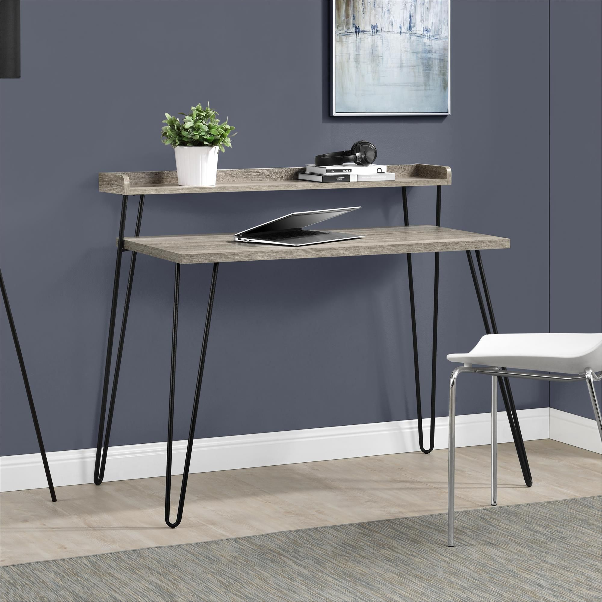 Good Dorel Home Furnishings Haven Sonoma Oak/Gunmetal Gray Retro Desk With  Riser, Beige U0026 Idea