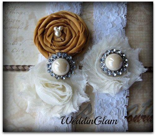 Fall Wedding Garter - Ivory Lace Garter Set -Bridal Garter - Vintage Garter - gold Garter -gold weddding- Wedding accessory