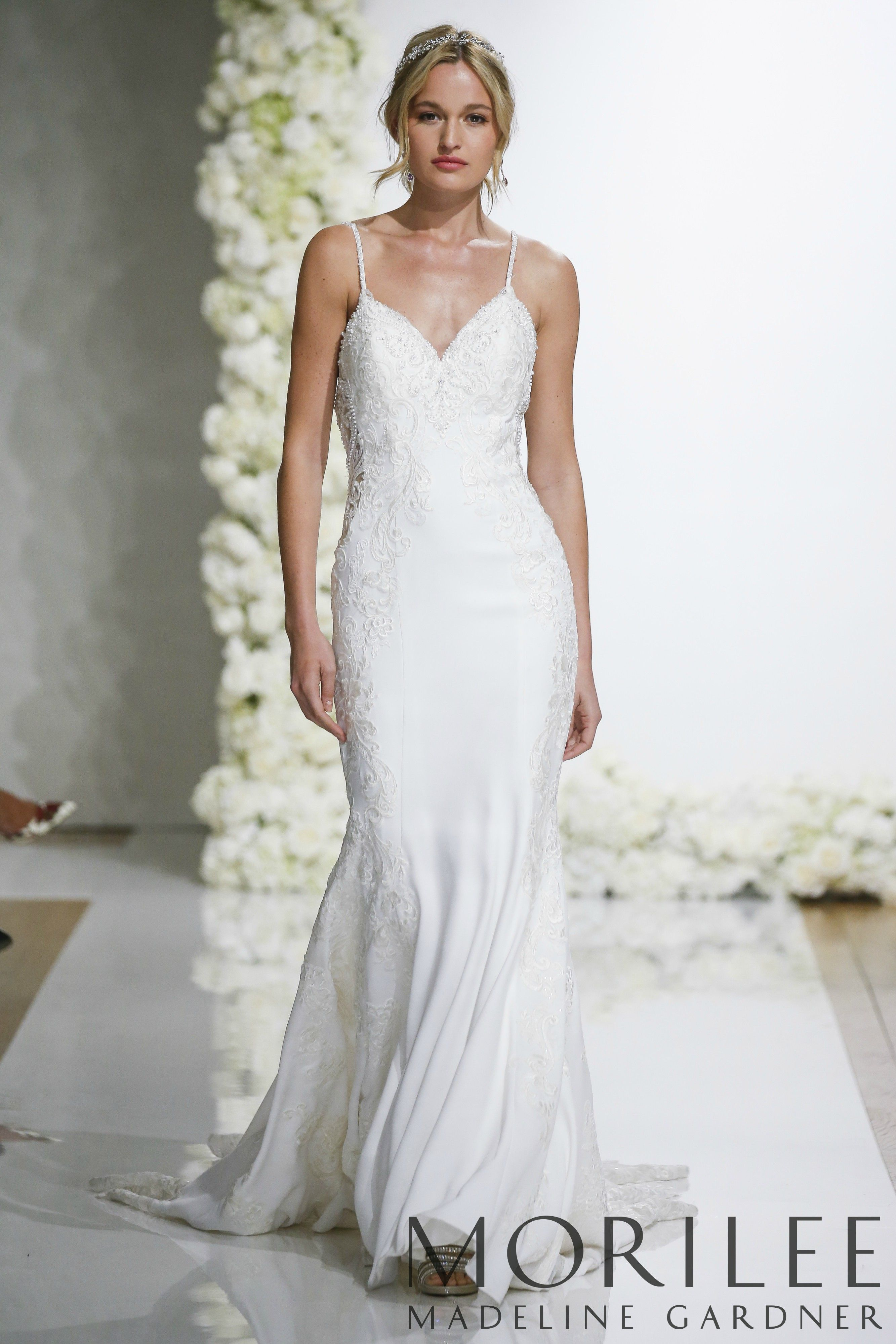 62ec04c35252 Morilee | Madeline Gardner, Lizzie Style 8283 | Form Fitting Crepe Wedding  Dress Featuring Beaded, Embroidered Appliqués with Sheer Sides and Sheer,  ...