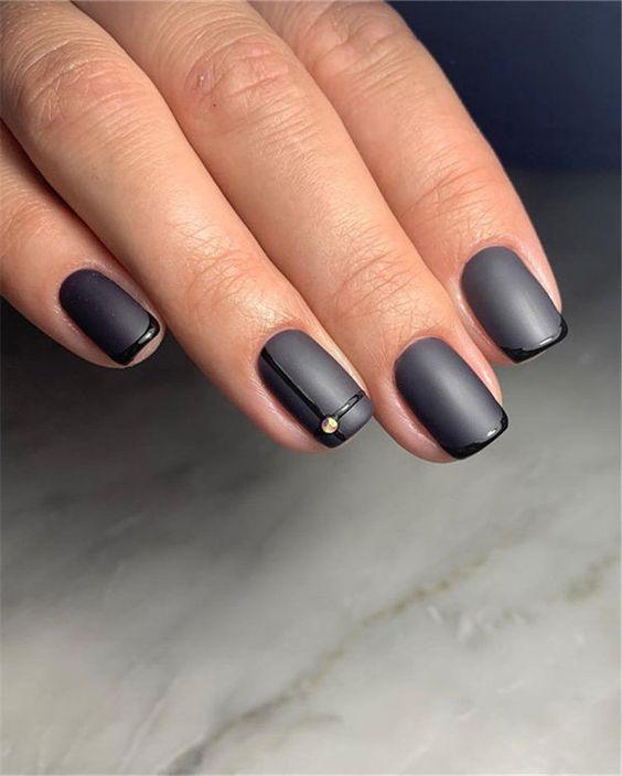 Elegant Black And White Short Nails Design Ideas Exceptional Look 2020 Molitsy Blog Black Nail Designs Black Nails Nail Designs