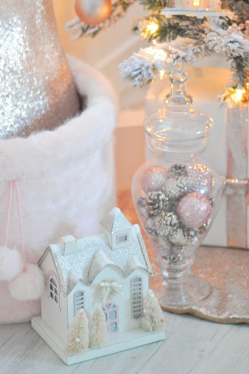 Blush pink vintage inspired tree christmas 2016 pink - Blush pink christmas decorations ...