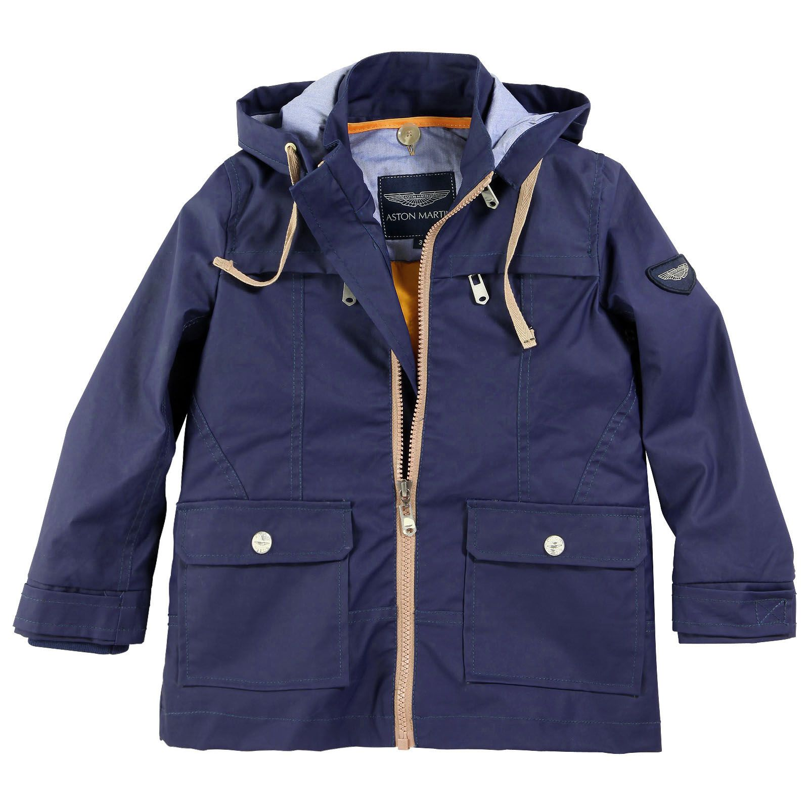 Aston Martin Navy blue zip raincoat with a hood Blue - 34907 ...