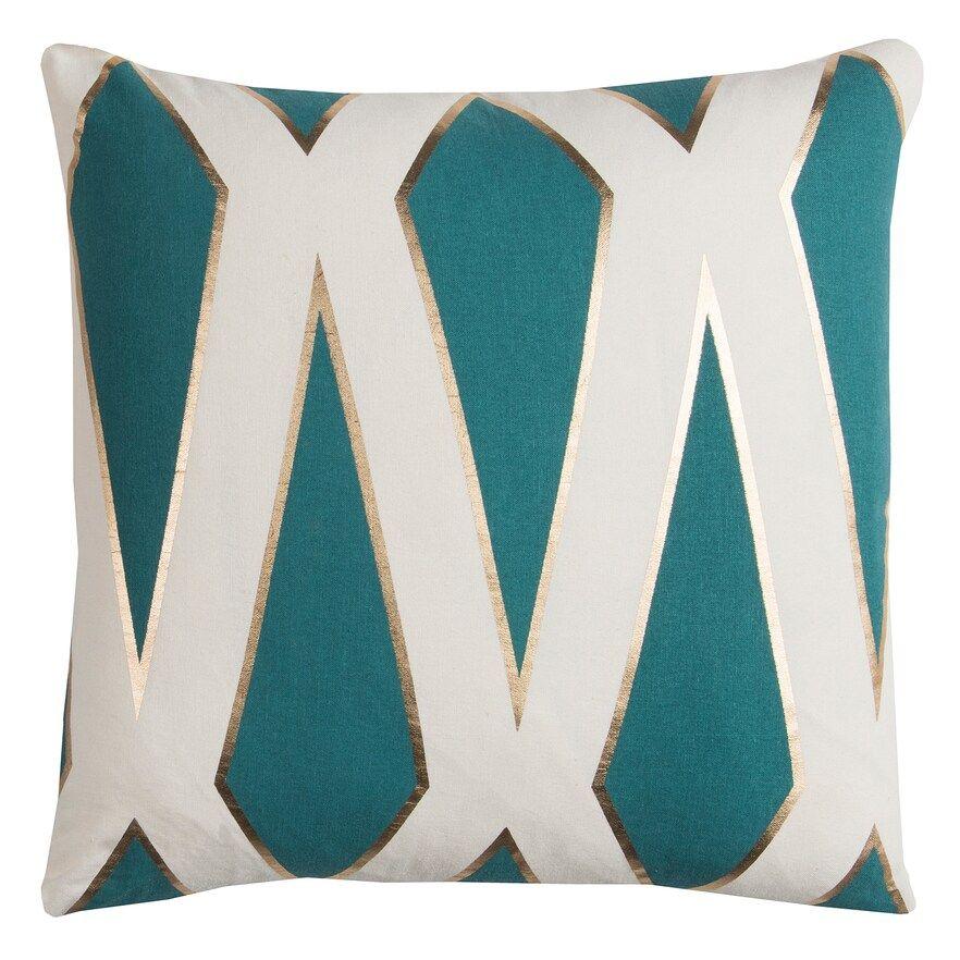 Rizzy Home Rachel Kate Geometric Ii Foil Printed Throw Pillow Teal Throw Pillows Geometric Throw Pillows Throw Pillows