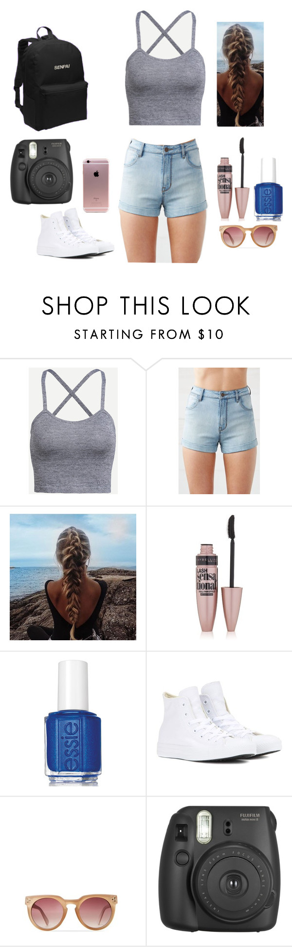 """""""I'm just going to go edit on the beach...."""" by clairezoo ❤ liked on Polyvore featuring beauty, Kendall + Kylie, Maybelline, Essie and Converse"""