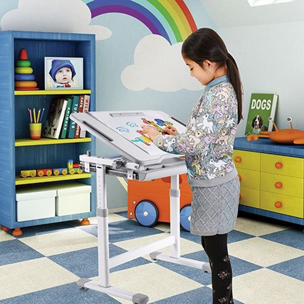 Ikayaa Height Adjustable Kid S Study Desk And Chair Set With Paper