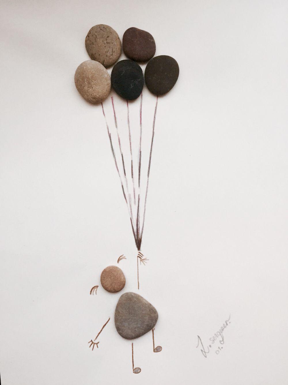 Faire Un Tableau Avec Des Galets beach stone art ,ballon   art de galets, cailloux deco