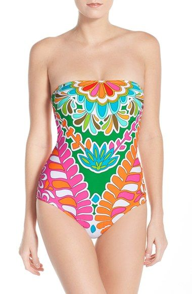63f29dc6e48c7 Trina Turk 'Tamarindo' Convertible Bandeau-One Piece Swimsuit available at  #Nordstrom