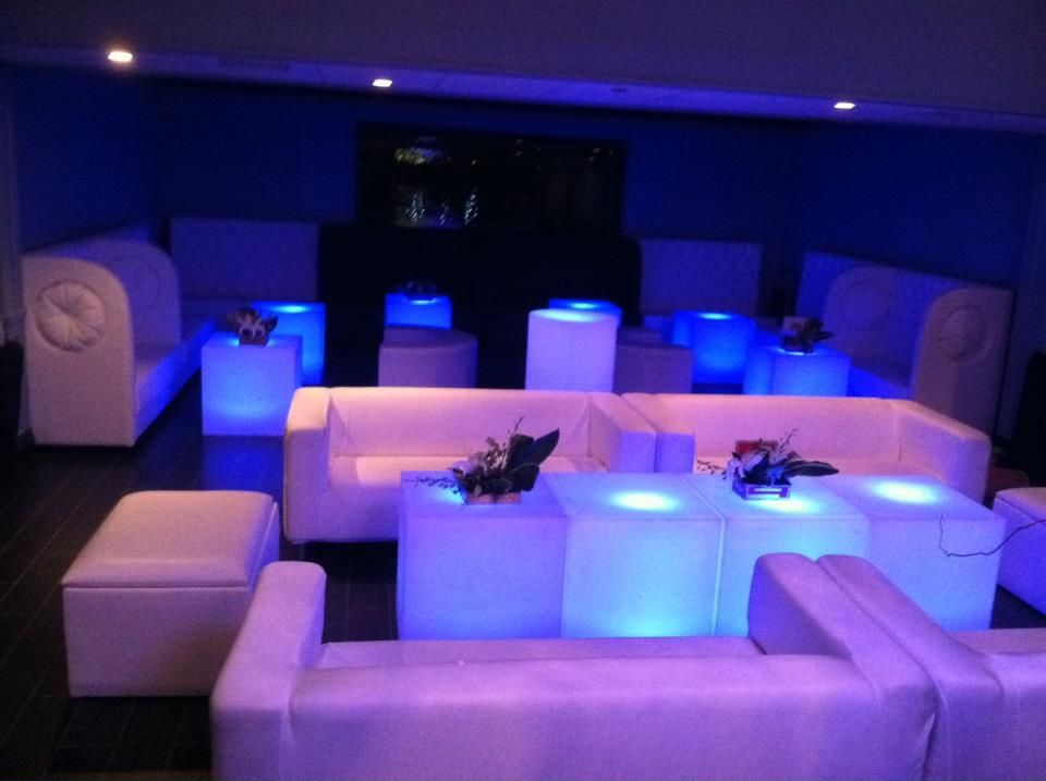 White Lounge Furniture Rentals Illuminated Table Rentals New Jersey  Illumintaed Cube Rental 718 8735214