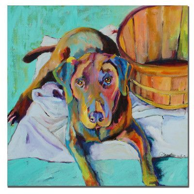"Trademark Art 'Basket Retriver' by Pat Saunders-White Painting Print on Canvas Size: 24"" H x 24"" W x 2"" D"