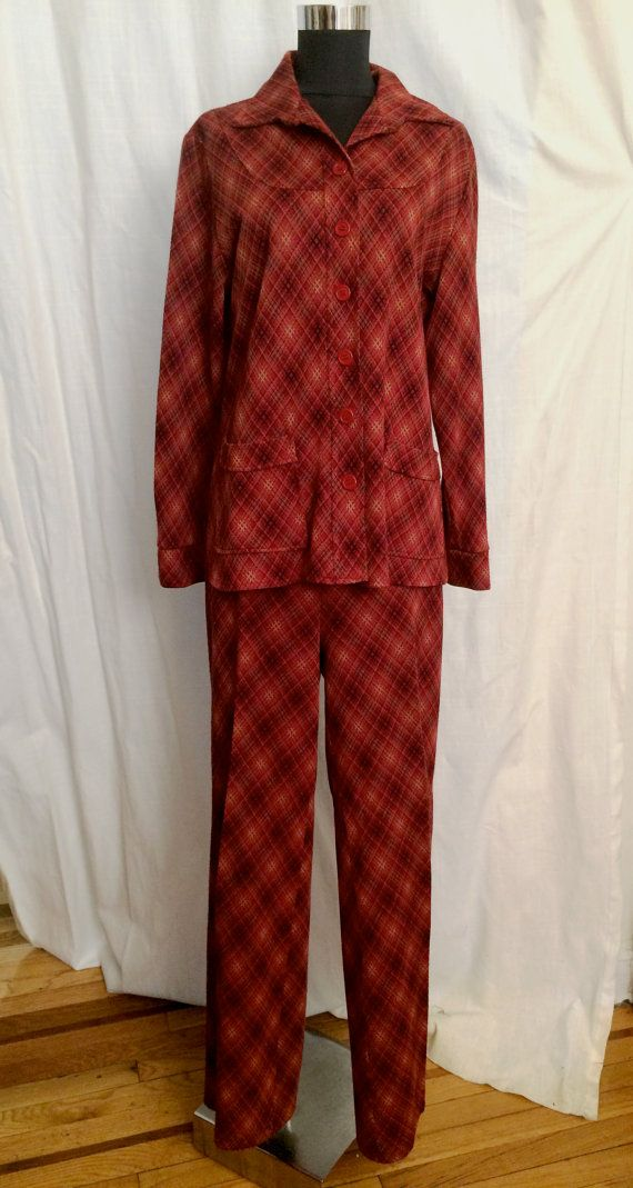 Fun Vintage 1970's Red Plaid Pants Suit Size 10 12 by ItemVintage