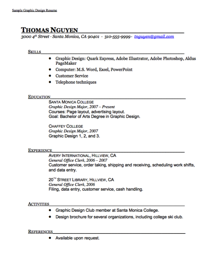Sample Graphic Design Resume  HttpExampleresumecvOrgSample
