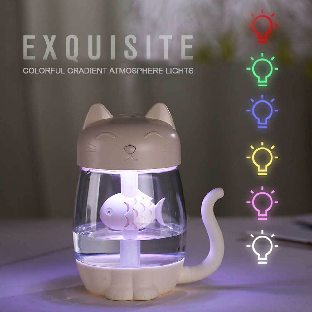 3 in 1 350ML USB Cat Air Humidifier With LED Light Mini Fan