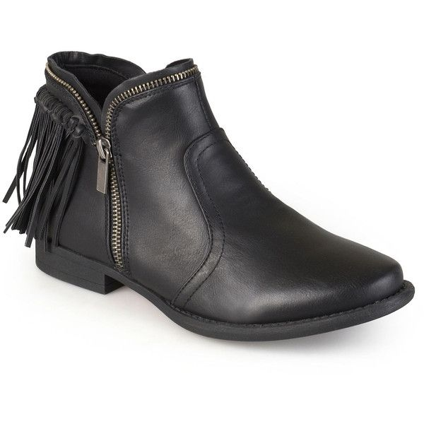 Journee Collection Fringe Womens Ankle Boots ($75) ❤ liked on Polyvore featuring shoes, boots, ankle booties, ankle boots, short heel booties, bootie boots, short heel boots and fringe booties