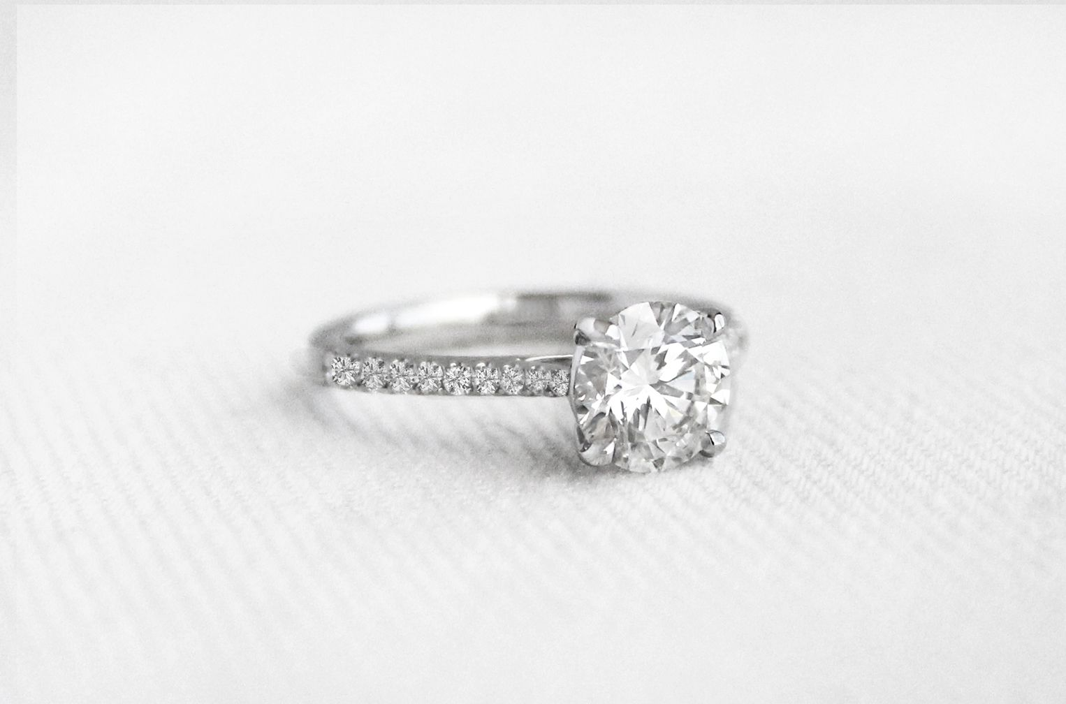 Custom ct round cut pave engagement ring custom engagement