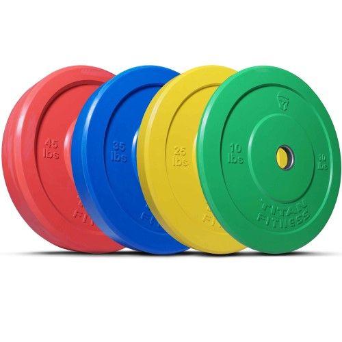 Titan Fitness 35 lb Olympic Bumper Plate Black Benchpress Strength Training