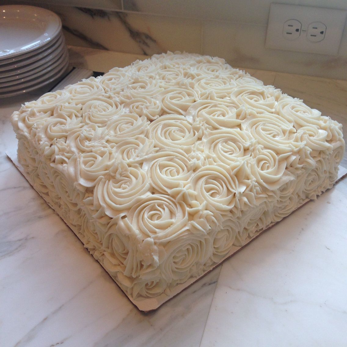 Simple Square Buttercream Rosette Cake Square Birthday Cake