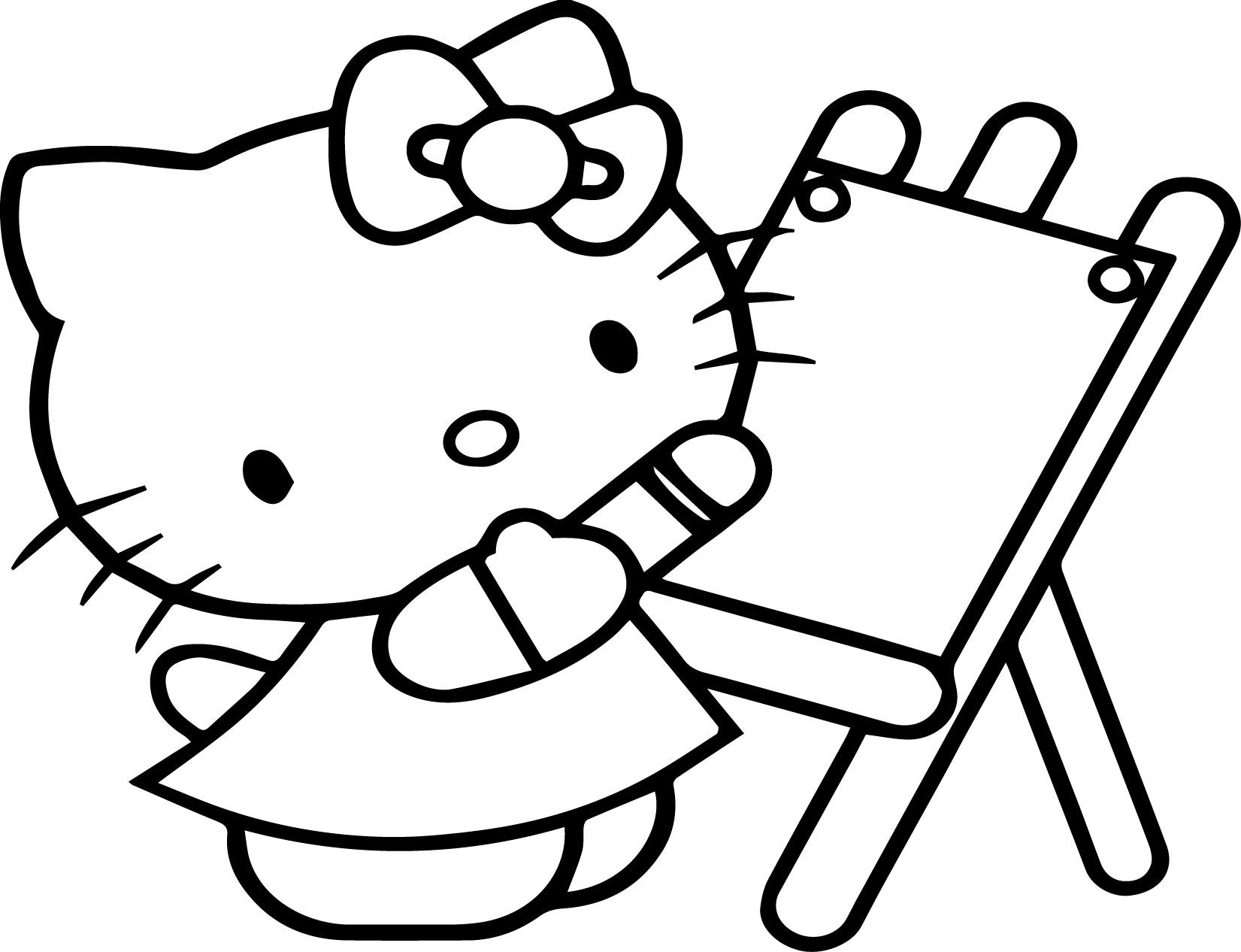 Cool Hello Kitty Painting Coloring Page