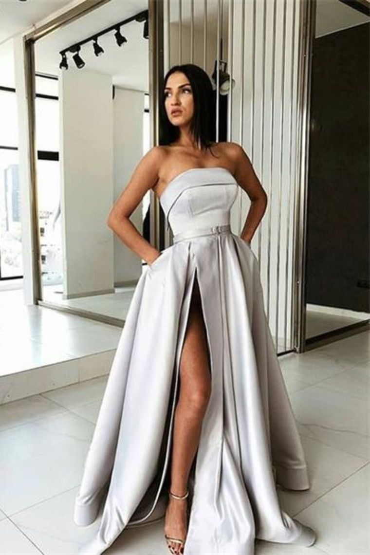 Elegant strapless long silver satin simple prom dresses with pockets