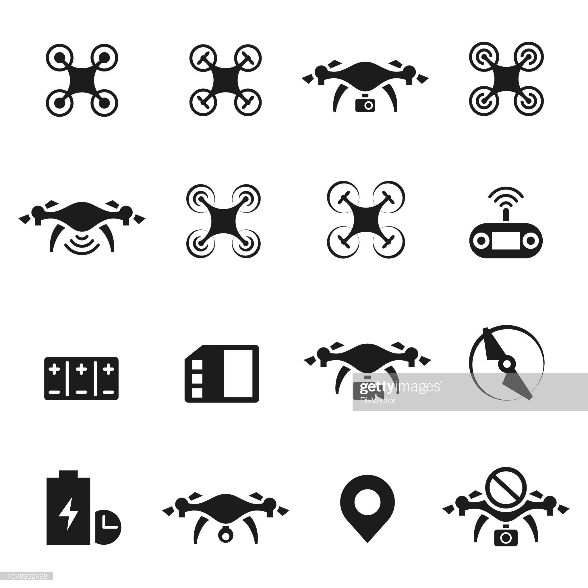 Drone Icon Vector Set Illustration Drone Logo Photography Logo Design Logo Design Template