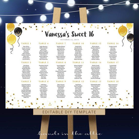 Wedding seating chart template, sweet 16 birthday, festive table