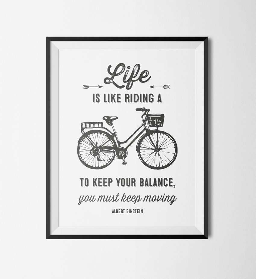 Printable Wall Art Motivational Bicycle Quote