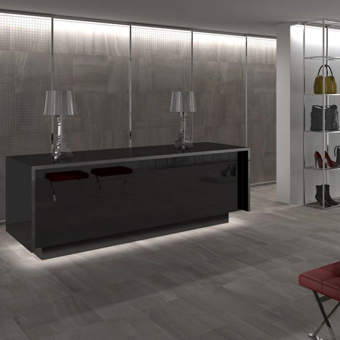 Vermont Dark Grey Porcelain Tiles Large Format And Plank Tile Sizes Fabric Textured Effect Mandarin Stone