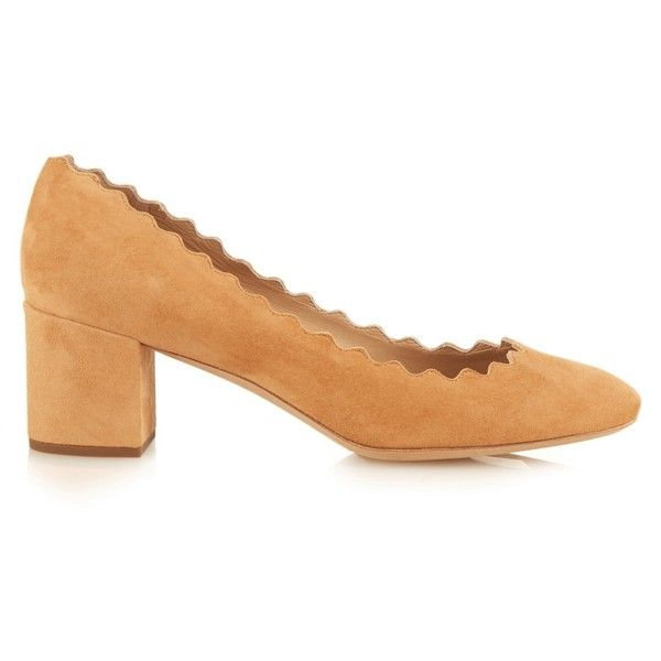 MATCHESFASHION.COM ($455) ❤ liked on Polyvore featuring shoes, pumps, brown suede shoes, tan pumps, chloe shoes, block heel shoes and tan shoes