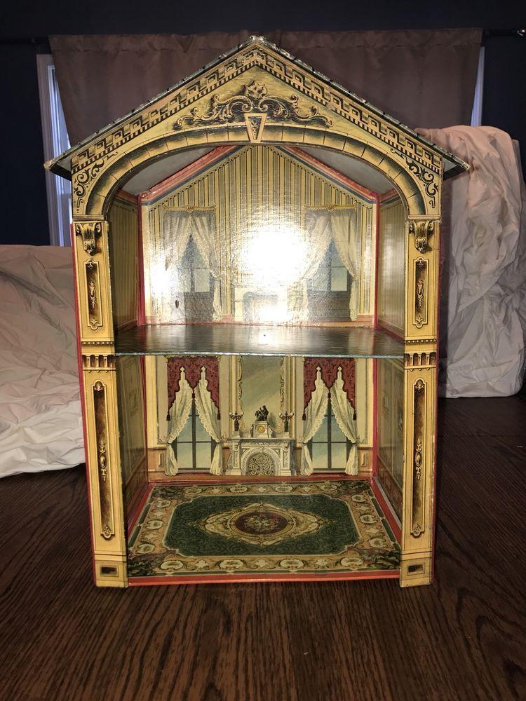 Antique Collapsible Doll House Spielzeug, Puppenstuben