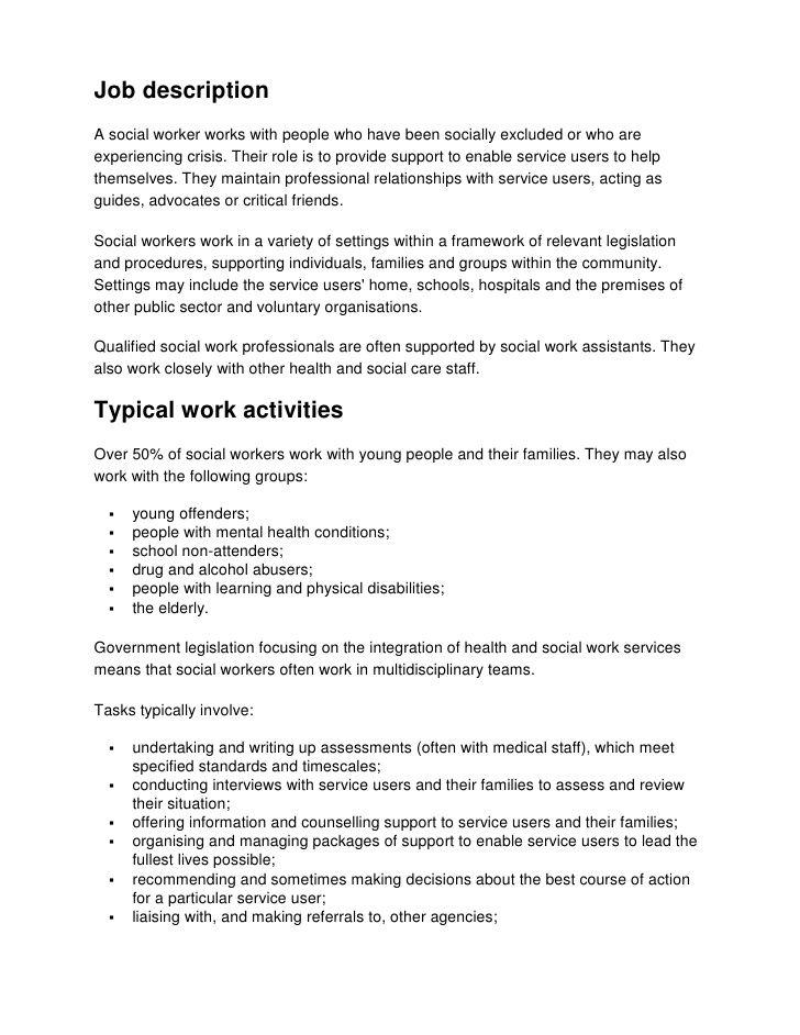 home health social worker job description health Pinterest - social worker job description