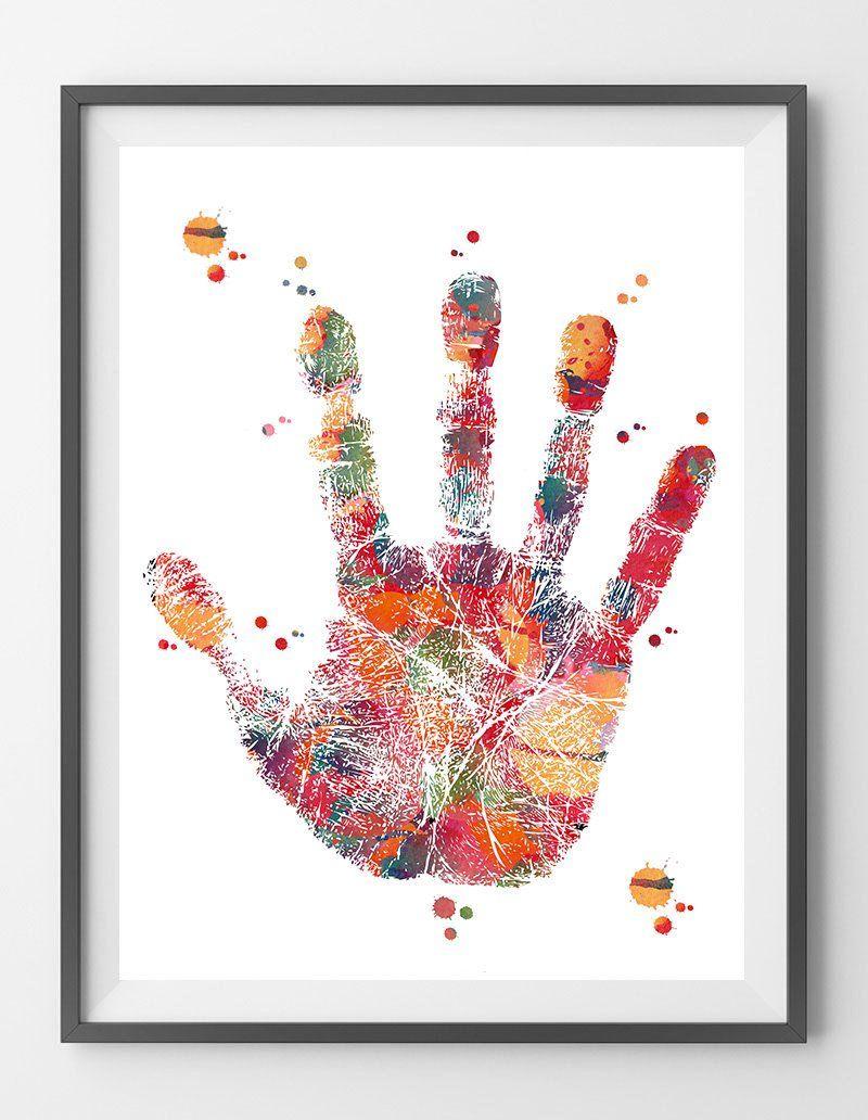 Handprint Watercolor Print Hand Palm Poster Hand Illustration Wall Art Anatomy Art Science Art Gift Ha Illustration Wall Art Hand Illustration Watercolor Print
