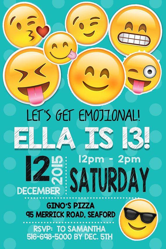 EMOJI BIRTHDAY INVITATION Emojis Emoji Invite Collectibles Girl Digital File Party Diy 3 Col