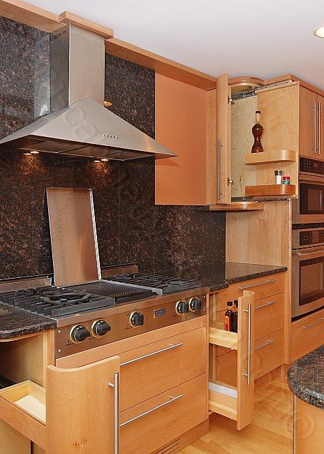 pull out spice cupboard   Contemporary Kitchen Cabinets Design Ideas ...