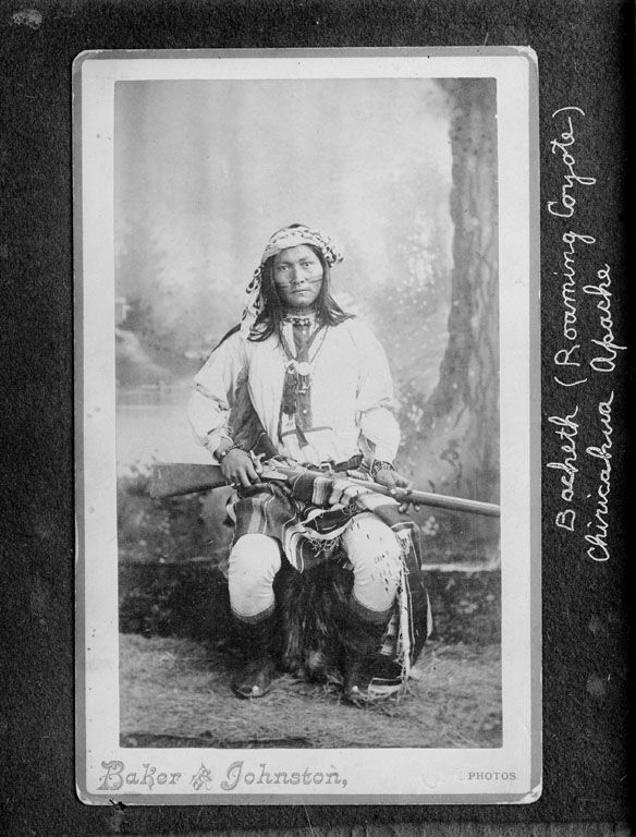 Ba-Cluth (aka Roaming Coyote) - Chiricahua Apache - Photo by baker & Johnston, 1885.