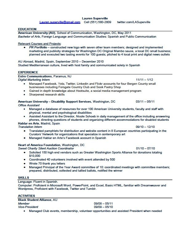 MY RESUME! I\'m looking for an #entrylevel position in #pr where I ...