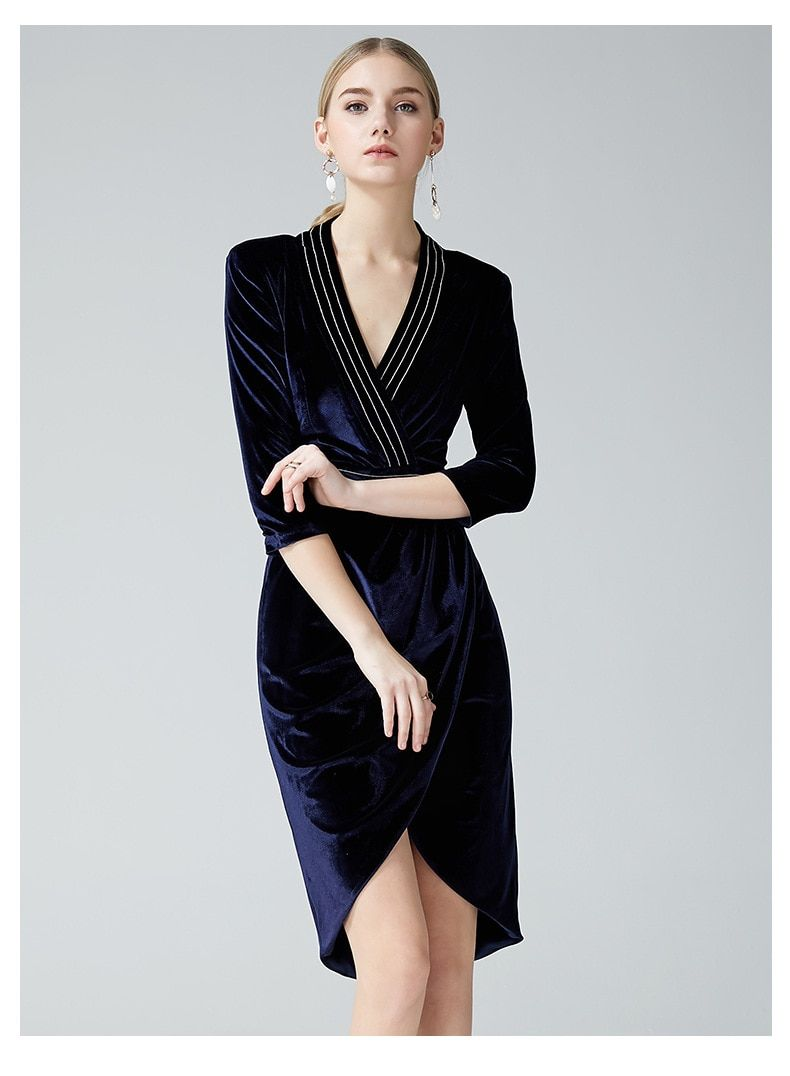 AELESEEN Women Elegant 3 4 Sleeve Velvet Dress 2019 Spring Autumn Sexy  Patchwrok V Neck Cross Bodycon Blue Dresses Party vestido free shipping  worldwide 075ba8b3b5f5