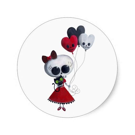 Romantic Skeleton Girl with Skull Balloons.  Romantic and cute  skeleton is heading for Valentine's Day. Dressed like a deadly princess, holding her little black cat and heart shaped balloons. Romantic but also creepy and spooky. As always:)  Valentine's Day or Halloween illustration by Madame Colonelle.