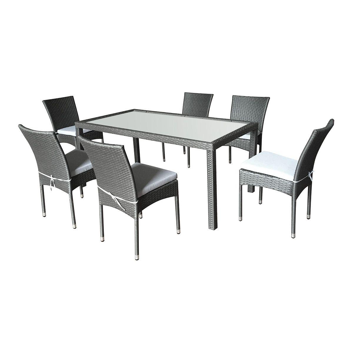 Salon de jardin Doha en résine tressée 6 chaises + coussins gris ...