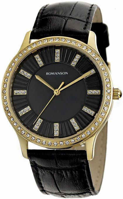 4e6c91ae84a Romanson Women s Swiss Quartz Watch With Crystal Encrusted Bezel And Mother  Of Pearl Dial