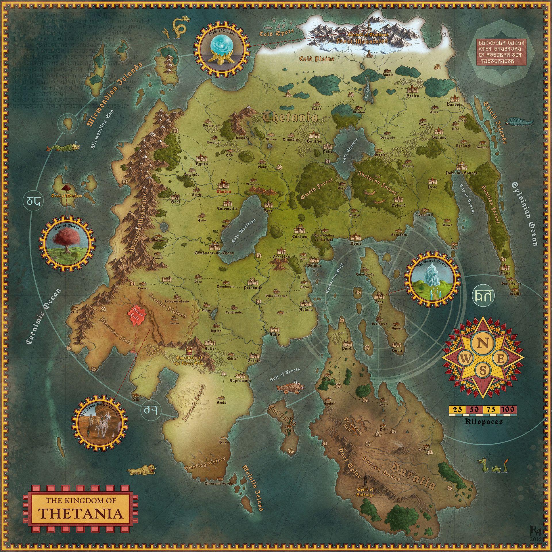 Artstation Thetania Robert Altbauer Fantasy World Map