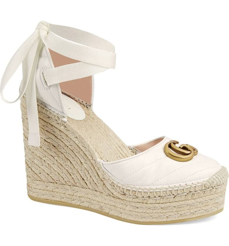8c3fbe200114 Gucci Palmyra Ankle Tie Espadrille Wedge (Women) | Nordstrom ...