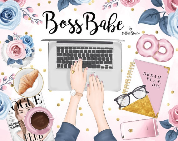 Planner Girl Clipart Girlboss Businesswoman Blogger Boss