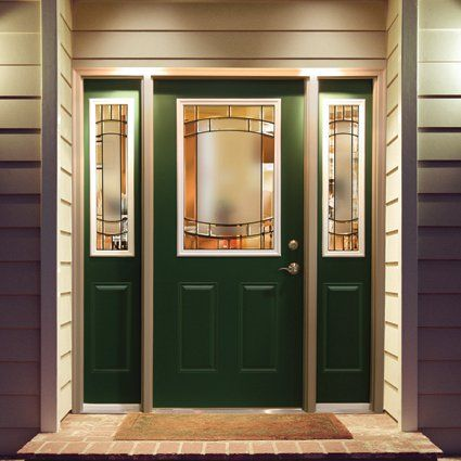 This Beautiful Green Entryway Door Set Is Pre Finished Steel From