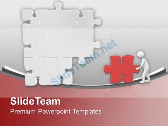 D Man Pushing Puzzle To Business Solution Powerpoint Templates